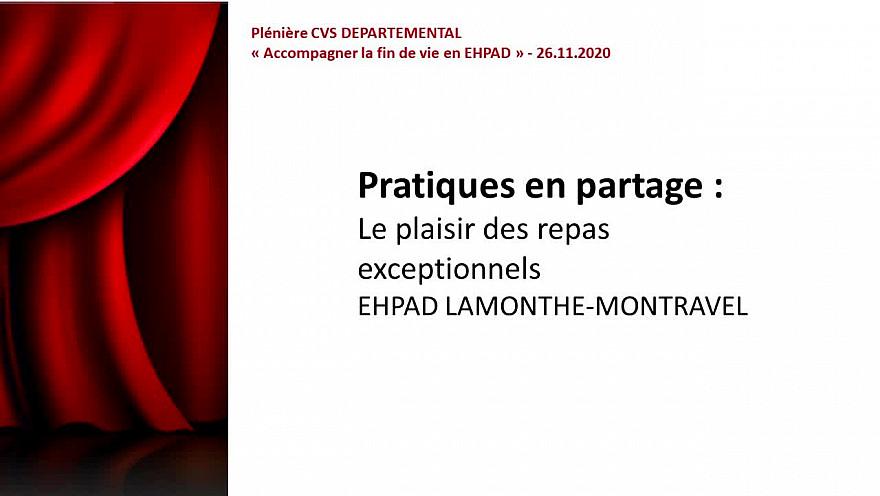 Le plaisir des repas exceptionnels - EHPAD LAMONTHE-MONTRAVEL